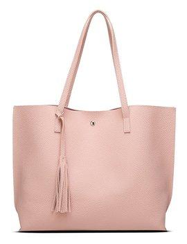 Women's Soft Leather Tote Shoulder Bag From Dreubea, Big Capacity Tassel Handbag by Dreubea
