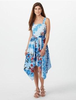 Striped Floral Asymmetrical Hem Dress by Dressbarn