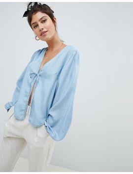 Asos Design Denim Tie Front Top by Asos Design