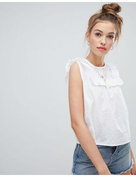 Wednesday's Girl Smock Crop Top With Frill Bib In Broderie by Wednesday's Girl