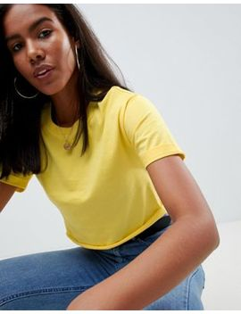 Asos Design Crop T Shirt With Roll Sleeve And Raw Hem by Asos Design
