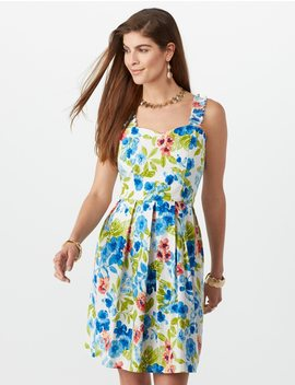 Ruffled Strap Floral Fit And Flare Dress by Dressbarn