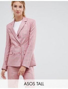Asos Design Tall   Blazer Ajusté Croisé   Carreaux Rouges by Asos Design