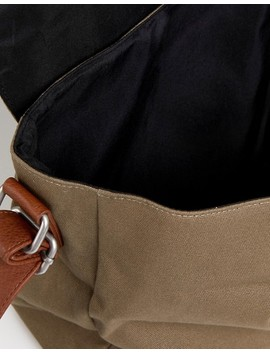 asos-satchel-in-khaki-with-faux-leather-trim-detail by asos