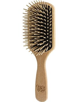 Tek Paddle Hair Brush In Ash Wood With Long Pins   Handmade In Italy by Tek