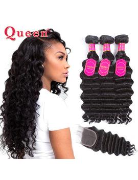 Queen Hair Products Loose Deep Wave Brazilian Hair Weave Bundles With Closure Brazilian Virgin Human Hair Bundles With Closure by Queen