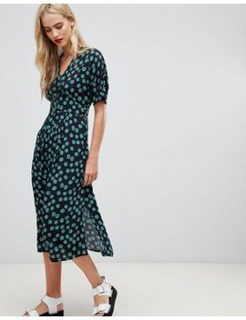 Whistles Buttondown Midi Dress In Floral Print by Whistles