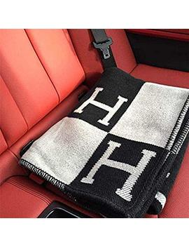 "Initial Letter H Cashmere Knitted Throw Blanket For Couch/Chair/Love Seat/Car Camping Blanket Shawl 55""X63""(Black)Fba by Mos"
