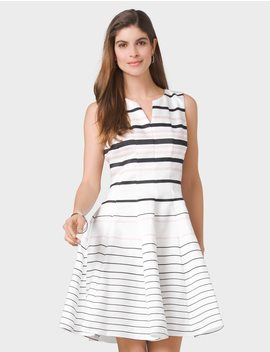 Striped Fit And Flare Dress by Dressbarn