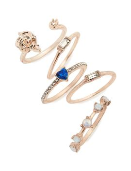 5 Pack Rose & Stone Rings by Lula