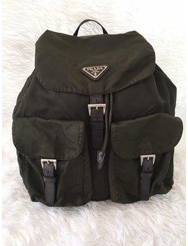Mint!!! Authentic Vintage Prada Vela Tessuto Dark Green Nylon Mini Backpack Unisex by Etsy