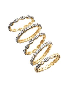 Classic Mixed 5 Stack Ring by Freida Rothman