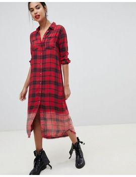 Only Maxi Dip Dye Check Shirt Dress by Only