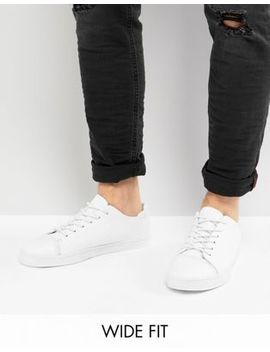 Asos Design Wide Fit Trainers In White With Toe Cap by Asos