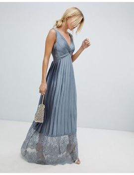 Little Mistress Pleated Maxi Dress With Lace Hem Detail by Little Mistress