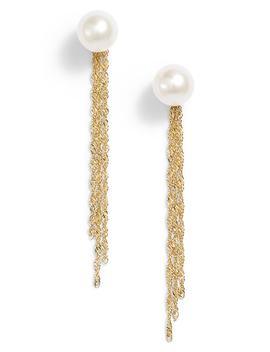Gold Tassel Jacket Pearl Stud Earrings by Poppy Finch