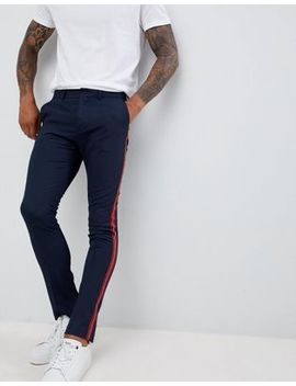 New Look Skinny Fit Trousers With Side Stripe In Navy by New Look