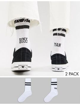 Asos Design Tube Style Socks With Boss Man Slogan 2 Pack by Asos Design