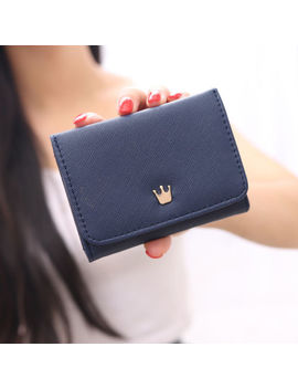 new-women-crown-pu-leather-coin-card-holder-mini-bifold-purse-wallets by unbranded