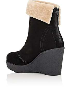 Suede & Shearling Wedge Ankle Boots by Mr & Mrs Italy