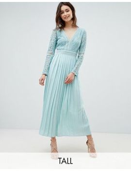 Little Mistress Tall Lace Top Midi Skater Dress With Pleated Skirt In Spearmint by Little Mistress Tall