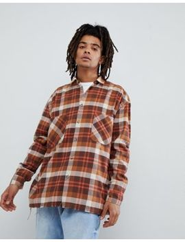 Mennace Checked Shirt In Brown by Mennace