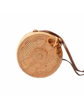 Youthunion Rattan Bag Round Knitted Straw Bag Tropical Beach Style Crossbody Handwoven Tote Basket Bali Pu Leather Strap Bags by Amazon