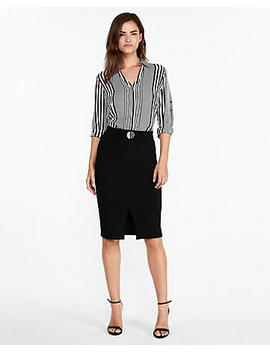Belted Front Slit Pencil Skirt by Express