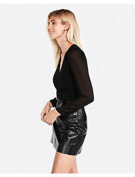 Solid Surplice Cropped Blouse by Express