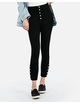 High Waisted Snap Hem Cropped Ponte Leggings by Express