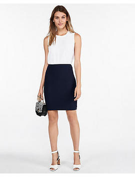 Solid Seamed Pencil Skirt by Express