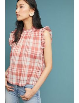 Plaid Flutter Sleeve Top by Isabella Sinclair