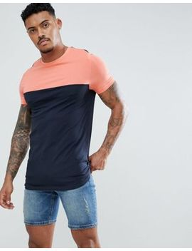 Asos Design Longline Muscle Fit T Shirt With Contrast Yoke by Asos Design