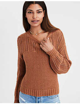 Ae Eyelet Balloon Sleeve Pullover by American Eagle Outfitters
