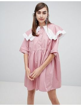 Sister Jane Smock Dress With Double Layer Bib And Contrast Lace Trim by Sister Jane
