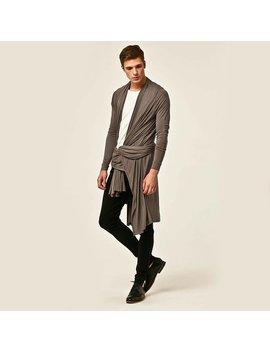 Orttu Grey Waterfall  Mens Long Cardigan   Summer Sale   Stretchy Jersey Kimono With Long Sleeves   Award Winning Designer Clothing   Gray by Etsy