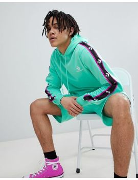 Converse Pullover Hoodie With Taped Side Stripes In Green 10007588 A04 by Converse