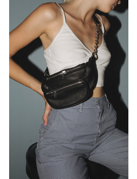 Black Leather Fanny Pack by Brandy Melville