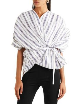 Striped Cotton Poplin Wrap Top by A.W.A.K.E.