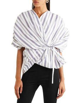 Striped Cotton Poplin Wrap Top by A.W.A.K.E.