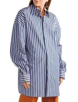 Oversized Striped Cotton Poplin Shirt by A.W.A.K.E.