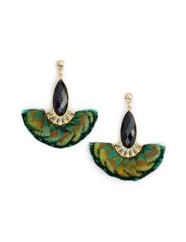 Mini Serti Paon Feathered Drop Earrings by Gas Bijoux