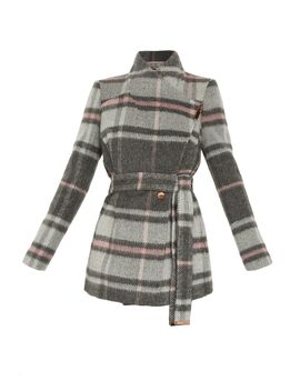 Fredde Short Check Wool Wrap Coat by Ted Baker