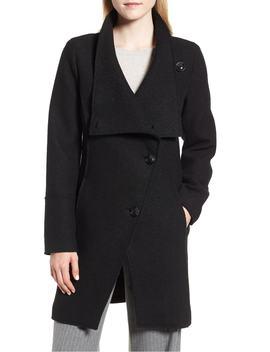 Boiled Wool Blend Asymmetrical Coat by Halogen®
