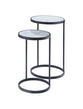 Gold Coast Faux Marble Nesting End Tables Faux Marble/Black   Johar by Johar Furniture