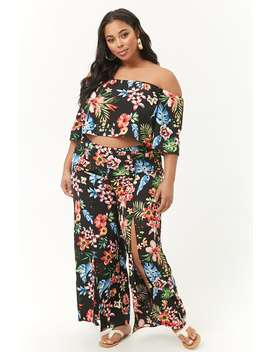 Plus Size Tropical Floral Top & Pants Set by Forever 21