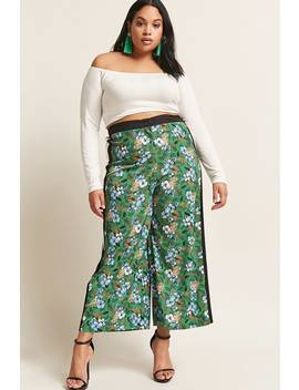 Plus Size Tropical Floral Print Culottes by Forever 21