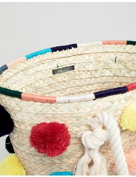 Park Lane Handmade Structured Pom Pom Straw Beach Bag by Cart