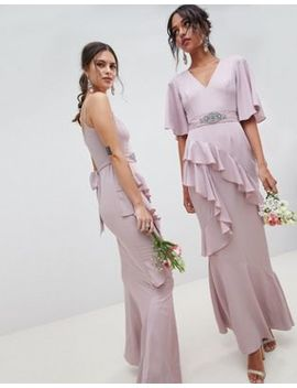 Asos Design Bridesmaid Ruffle Flutter Sleeve Maxi Dress With Embellished Belt by Asos Design