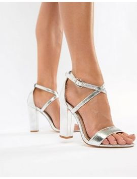 Glamorous Metallic Cross Strap Block Heel Sandals In Silver by Glamorous